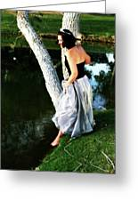 Fantasy Princess And The Pond Greeting Card by Charles Benavidez