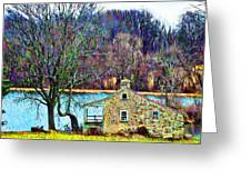 Farmhouse By The Lake Greeting Card by Bill Cannon