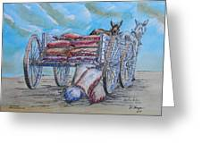 Feed Wagon Watercolor Greeting Card by Charles Sims and Warren Thompson