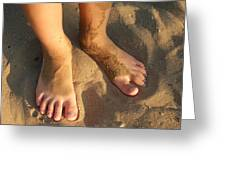 Feet Of A Child In The Sand Greeting Card by Matthias Hauser
