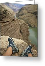 Feet Shod In River Shoes On An Overlook Greeting Card by Bobby Model