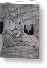 Female Nude Seated Greeting Card by Joanne Claxton