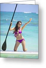 Female Stand Up Paddler Greeting Card by Tomas del Amo