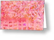 Fence And Trees On Another Day Greeting Card by Anne-Elizabeth Whiteway