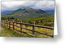 Fence Row And Mountains Greeting Card by Marty Koch