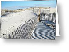 Fences Shadows And Sand Dunes Greeting Card by Mother Nature