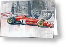 Ferrari 312 B3 Monaco Gp 1973 Jacky Ickx Greeting Card by Yuriy  Shevchuk