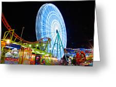 Ferris wheel at night Greeting Card by Stylianos Kleanthous