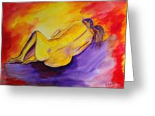 Fetal Position Greeting Card by Donna Blackhall