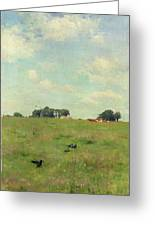 Field With Trees And Sky Greeting Card by Walter Frederick Osborne