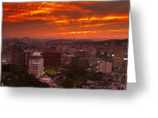 Fiery Seoul Sunset Greeting Card by Gabor Pozsgai
