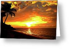 Fiery Sunset Greeting Card by Yiries Saad