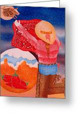Fighting The Bull Greeting Card by Dede Shamel Davalos