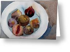Figs On A Plate Greeting Card by Myra  Gallicker