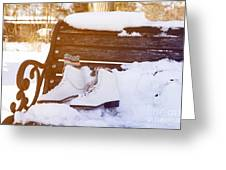 Figure Skates On The Bench Greeting Card by Igor Kislev