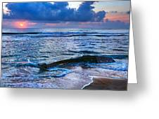 Final Sunrise - Beached Boat On The Outer Banks Greeting Card by Dan Carmichael