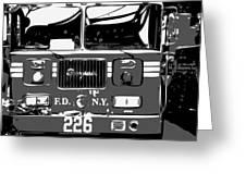 Fire Truck Bw3 Greeting Card by Scott Kelley
