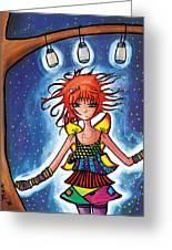 Firefly Girl Greeting Card by Jen Kiddo