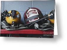 Fireman Helmets And Gear Greeting Card by Skip Nall