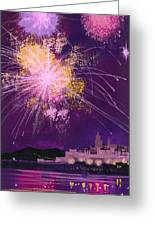 Fireworks In Malta Greeting Card by Angss McBride