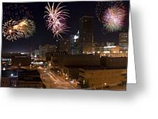 Fireworks Over The City Greeting Card by Ricky Barnard