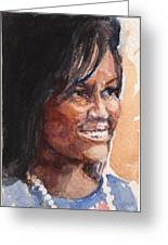 First Lady In Blue Greeting Card by Nancy Watson