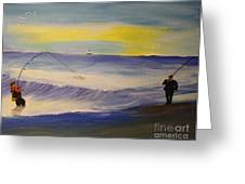 First Light First Wave First Fish Greeting Card by Bill Hubbard