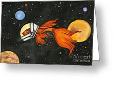 Fish In Space Greeting Card by Nora Blansett