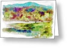 Fishing - Watson Lake Greeting Card by Arne Hansen