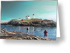 Fishing At The Nubble Lighthouse Greeting Card by Earl Jackson