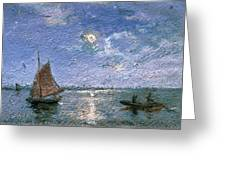 Fishing Boats By Moonlight Greeting Card by Alfred Wahlberg