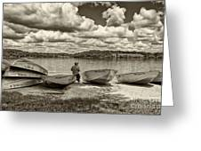 Fishing By The Boats 2 Greeting Card by Jack Paolini