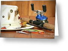 Fishing Reel With Hat And Color Lures Greeting Card by Sandra Cunningham