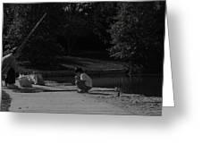 Fishing With Grandpa Greeting Card by Anna Villarreal Garbis