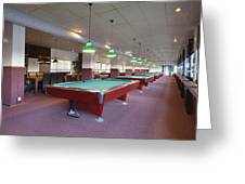 Five Pool Billiards Tables In A Row Greeting Card by Corepics