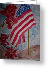 Flag And Roses Greeting Card by James Cox