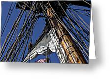 Flag In The Rigging Greeting Card by Garry Gay