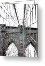 Flagging The Bridge Greeting Card by David Bearden