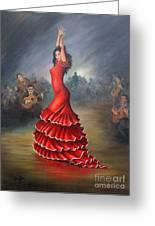 Flamenco Dancer Greeting Card by Mai Griffin