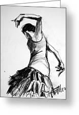 Flamenco Sketch 2 Greeting Card by Mona Edulesco
