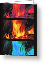Flames Triptych Greeting Card by Steve Ohlsen