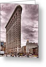 Flat Iron Building Greeting Card by Michael Dorn