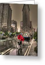 Flatiron In The Rain Greeting Card by David Bearden