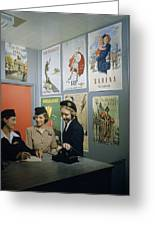 Flight Attendants Stand And Talk Greeting Card by B. Anthony Stewart
