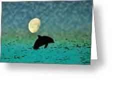 Flippers Moonlight Swim Greeting Card by Bill Cannon