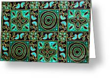 Floral Fabric Pattern Greeting Card by Phalakon Jaisangat