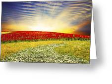 Floral Field On Sunset Greeting Card by Setsiri Silapasuwanchai
