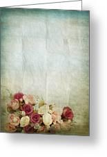 Floral Pattern On Old Paper Greeting Card by Setsiri Silapasuwanchai