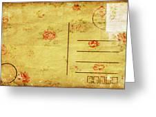 Floral Pattern On Old Postcard Greeting Card by Setsiri Silapasuwanchai