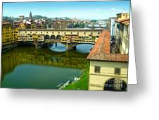 Florence Italy - Ponte Vecchio From The Uffizzi Greeting Card by Gregory Dyer